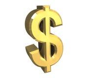 Het symbool van de dollar in (3D) goud Stock Afbeeldingen