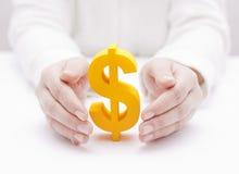 Het symbool van de dollar dat door handen wordt beschermd Royalty-vrije Stock Afbeeldingen