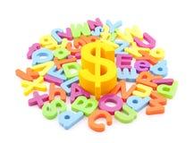 Het symbool van de dollar en kleurrijke brieven Royalty-vrije Stock Afbeelding