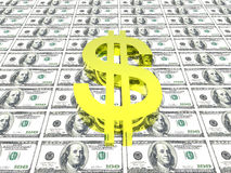 Het symbool van de dollar op geldachtergrond Royalty-vrije Stock Fotografie