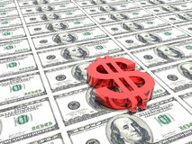 Het symbool van de dollar op geldachtergrond Stock Fotografie