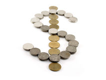 Het symbool van de dollarmunt van muntstukken op witte achtergrond wordt gemaakt die Royalty-vrije Stock Foto's