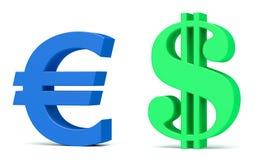 Het symbool van de euro en van de dollar Stock Fotografie