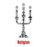 Het symbool van de godsdienstkaars van Christendomkruisen royalty-vrije illustratie