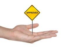 Het symbool van de hand met goedgekeurd geïsoleerdn teken Royalty-vrije Stock Afbeeldingen