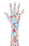 Het symbool van de hand met media pictogrammentextuur Royalty-vrije Stock Afbeeldingen