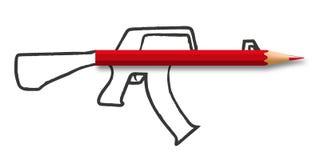 Het symbool van de informatieoorlog met een potlood verbonden aan een wapen vector illustratie