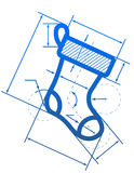 Het symbool van de Kerstmiskous met afmetingslijnen Royalty-vrije Stock Foto