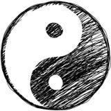 Het symbool van de krabbel yin-yang Royalty-vrije Stock Afbeeldingen