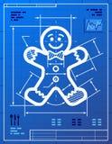 Het symbool van de peperkoekmens zoals blauwdruktekening Royalty-vrije Stock Afbeelding