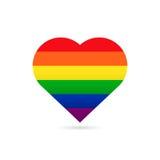 Het symbool van de regenboogvlag LGBT op hart Stock Fotografie