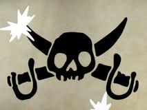 Het symbool van de schedel van piraten Stock Foto
