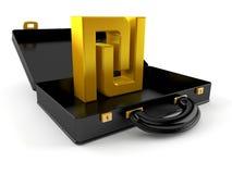 Het symbool van de sjekelmunt binnen zwarte aktentas stock illustratie