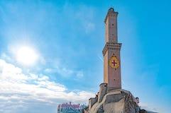 Het Symbool van de stadsitalië van Lightouselanterna Genua stock fotografie