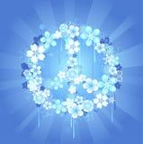 Het symbool van de vrede met bloemen op een blauwe achtergrond Royalty-vrije Illustratie