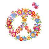 Het symbool van de vredesbloem met kleurrijke grappige bloemen vector illustratie