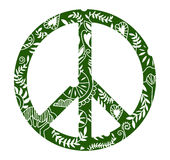 Het symbool van de vredeshippie van bloemen vectorontwerp Stock Foto's