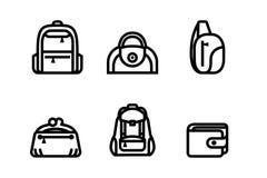 Het symbool van de zakcategorie op diverse manieren voor manier het winkelen Web en algemeen, pictogram vastgestelde vectorillust vector illustratie