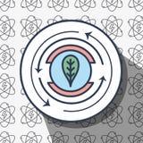 Het symbool van het embleemblad met energieachtergrond van behoud van milieu stock illustratie
