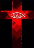 Het symbool van Grungejesus op een dwars en christelijk vissenembleem Stock Foto