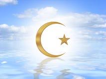 Het Symbool van het mohammedanisme op water Stock Afbeeldingen