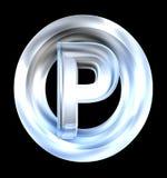 Het symbool van het parkeren in (3d) glas Royalty-vrije Stock Afbeelding
