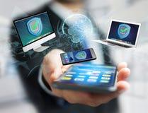 Het symbool van het veiligheidsschild over een netwerkverbinding van verschillend DE Royalty-vrije Stock Afbeeldingen