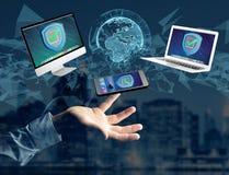 Het symbool van het veiligheidsschild over een netwerkverbinding van verschillend DE Royalty-vrije Stock Afbeelding