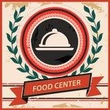Het symbool van het voedselcentrum, Uitstekende stijl Stock Afbeeldingen