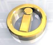 Het symbool van info in (3d) goud Stock Foto's