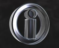 Het symbool van info in glas Stock Foto