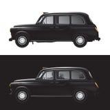 Het symbool van Londen - zwarte geïsoleerdel cabine - Stock Afbeeldingen