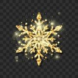 Het symbool van Nieuwjaarvooravond en Kerstmis elegante gouden schitteren sneeuwvlok Abstract sneeuwvlokpatroon Vector illustrati stock fotografie