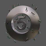 Het symbool van nr 5 met een paar dwergen Royalty-vrije Stock Afbeeldingen
