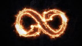Het symbool van oneindigheid gloeit in de brand Oneindigheid 37 stock video
