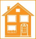 Het symbool van onroerende goederen met geïsoleerdu huis Stock Fotografie