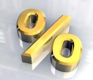 Het symbool van percenten in (3D) goud Royalty-vrije Stock Afbeelding