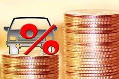 Het symbool van percenten op de achtergrond van geld stock afbeeldingen