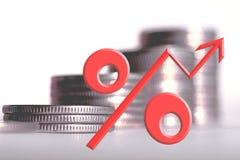 Het symbool van percenten op de achtergrond van geld royalty-vrije stock fotografie