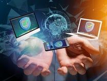 Het symbool van het veiligheidsschild over een netwerkverbinding van verschillend DE Stock Afbeeldingen