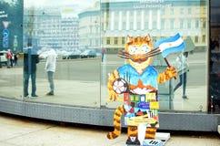 Het symbool van het voetbalkampioenschap op de straat van St. Petersburg royalty-vrije stock foto's