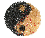 Het symbool van Yang van Yin dat van verschillende bessen wordt gemaakt stock foto