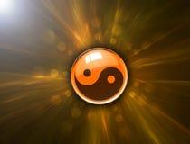 Het symbool van Yang van Yin op abstracte achtergrond Stock Fotografie