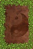 Het Symbool van Yang van Yin op oude document achtergrond Royalty-vrije Stock Fotografie