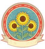 Het symbool van zonnebloemen op oude document textuur Stock Fotografie