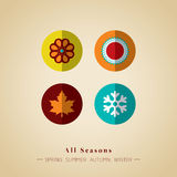 Het symbool vectorillustratie van het vier seizoenenpictogram Stock Foto