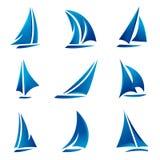 Het symboolreeks van de zeilboot Stock Fotografie