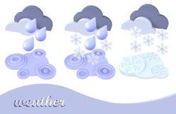 Het symboolsneeuw van het weer, regen, wolk Royalty-vrije Stock Foto's