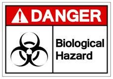 Het Symboolteken van het gevaars isoleert het Biologische Gevaar, Vectorillustratie, op Wit Etiket Als achtergrond EPS10 stock illustratie