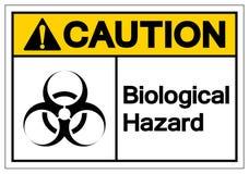 Het Symboolteken van het voorzichtigheids isoleert het Biologische Gevaar, Vectorillustratie, op Wit Etiket Als achtergrond EPS10 royalty-vrije illustratie
